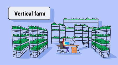 businessman using laptop sitting office workplace plants smart farming system concept modern vertical organic farm interior sketch flow style horizontal vector illustration