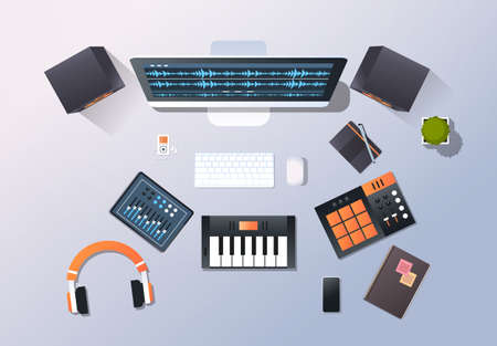 music recording studio sound engineering concept top angle view desktop monitor piano audio mixer headphones pro equipment office stuff horizontal vector illustration