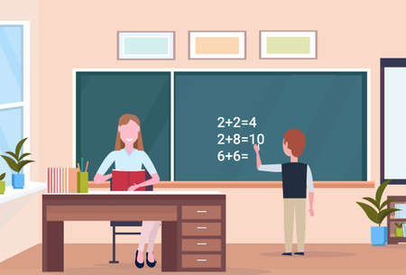 woman teacher sitting at desk schoolboy solving math problem on chalkboard during lesson education concept modern school classroom interior full length horizontal flat vector illustration