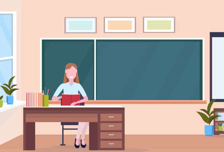 woman teacher sitting at desk reading book education concept modern school classroom interior chalk board female cartoon character full length horizontal flat vector illustration