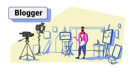 man artist blogger recording video on camera painter standing modern art workshop studio interior social media blog concept full length colorful sketch flow style horizontal vector illustration