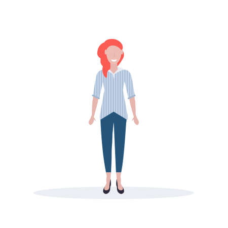 businesswoman standing pose happy redhead woman office worker female cartoon character full length flat isolated vector illustration