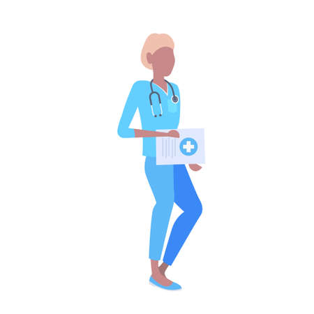 female doctor with stethoscope holding clipboard african american woman medical clinic worker in blue uniform cartoon character full length flat isolated vector illustration