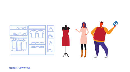 man woman choosing new dress couple standing modern fashion shop female clothes market shopping mall interior sketch flow style horizontal vector illustration