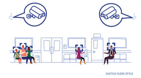 patients waiting clinic hall surveillance cctv facial recognition concept security camera system hospital corridor with seats and doors sketch flow style horizontal vector illustration