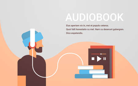 casual man listening audiobook through headphones bearded guy using digital technology audio book male cartoon character portrait flat horizontal copy space vector illustration