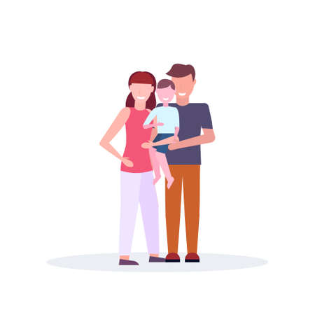 young family loving parents holding little son mother father and child standing together cartoon characters full length isolated flat vector illustration
