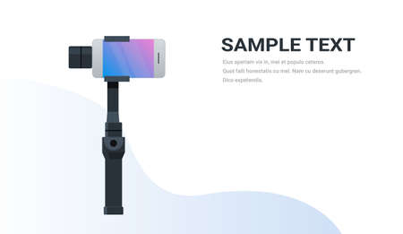 3-axis new generation stabilizer for smartphone device mobile gimbal and smart phone copy space flat horizontal isolated vector illustration