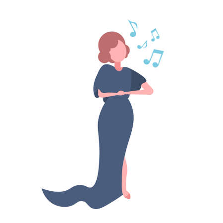 elegant woman opera singer in blue dress singing karaoke songs concert and music concept female cartoon character full length flat isolated vector illustration Иллюстрация