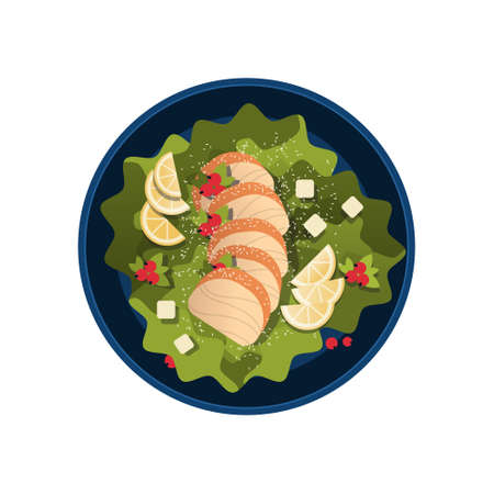 healthy fresh vegetable salad with chicken and sauce in black bowl top angle view restaurant food concept flat isolated vector illustration