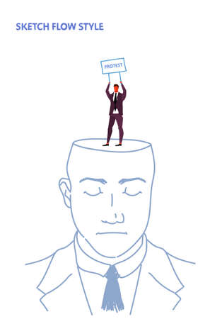 open human head businessman holding protest signboard demonstration placard imagination idea concept sketch flow style vertical vector illustration