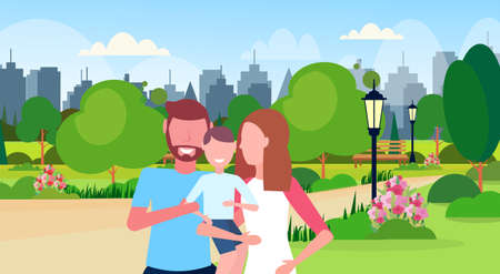 young family loving parents holding little son mother father and little boy walking outdoor city urban park cityscape background cartoon characters portrait flat horizontal vector illustration Illustration