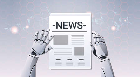 robot hands holding newspaper humanoid reading daily news top angle view artificial intelligence digital futuristic technology concept horizontal vector illustration