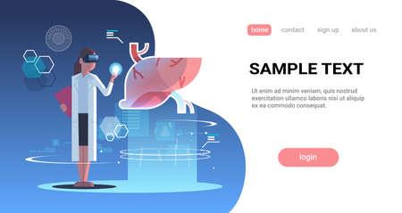 female doctor wearing digital glasses touching virtual reality liver human organ anatomy medical vr headset vision concept full length horizontal copy space vector illustration Vektorgrafik