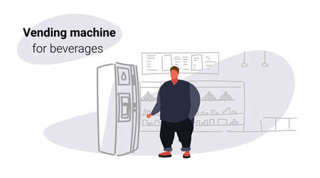 fat obese man taking beverage from water dispenser over size guy using vending machine big grocery shop modern super market shopping mall interior sketch doodle horizontal vector illustration