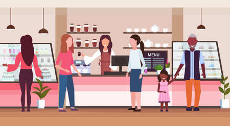 female barista coffee shop worker serving mix race people clients giving glass of hot drink waitress standing at cafe counter modern cafeteria interior flat full length horizontal vector illustration Vector Illustration