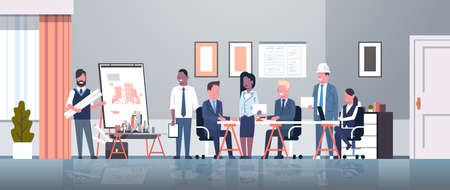 man architect showing drawing building blueprint on easel board to businesspeople engineers group panning project team meeting presentation concept horizontal full length vector illustration