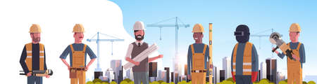 construction workers team industrial technicians builders group over city construction site tower cranes building residential buildings cityscape background flat horizontal portrait vector illustration