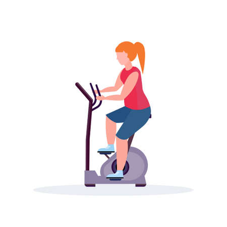 woman training exercise bike sportswoman riding stationary bicycle girl doing spinning sport activities healthy lifestyle concept female cartoon character full length flat vector illustration