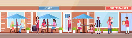 mix race people visitors sitting summer cafe shop customers holding purchases in front of supermarket exterior urban street concept horizontal banner full length vector illustration Vector Illustration