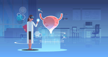 female doctor wearing digital glasses looking virtual reality urinary bladder human organ anatomy medical vr headset vision concept operation room interior full length horizontal vector illustration