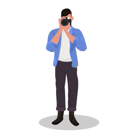 man photographer taking photo with camera male character standing and shooting professional occupation concept cartoon character full length flat white background vector illustration