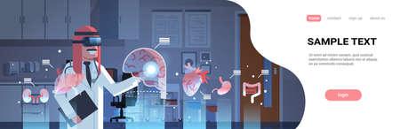 male arab doctor wearing digital glasses touching virtual reality brain human organs infographic anatomy medical vr headset vision concept hospital interior portrait horizontal copy space vector illustration Ilustração