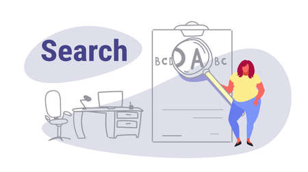 fat obese woman holding magnifying zoom glass letter zooming search concept overweight girl with magnifier loupe workplace office interior full length sketch doodle horizontal vector illustration
