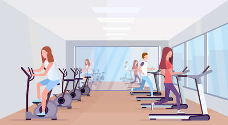 people running treadmill and riding stationary bicycle spinning sport activities healthy lifestyle concept men women group working out modern gym interior full length horizontal vector illustration