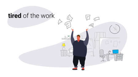 unsatisfied fat man boss throwing papers documents bad job concept angry overweight businessman employer modern office interior sketch doodle horizontal vector illustration 向量圖像