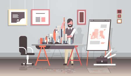 homme architecte tenant un ingénieur de niveau travaillant avec un nouveau modèle de ville de bâtiment pour le projet de panoramique urbain concept de maison plan de maison moderne bureau studio intérieur horizontal pleine longueur illustration vectorielle Vecteurs