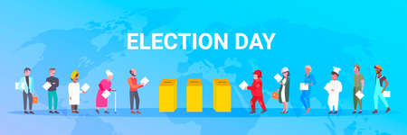election day concept different occupations voters casting ballots at polling place during voting mix race people putting paper ballot in box full length flat horizontal world map background vector illustration Vecteurs