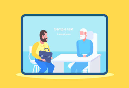 man patient having consultation with senior doctor sitting at table workplace modern clinic office medicine and healthcare concept closeup portrait copy space flat vector illustration