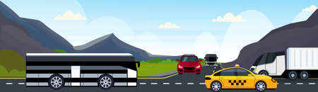 cars passenger bus and semi truck driving asphalt highway road and beautiful mountains natural landscape background horizontal banner flat vector illustration