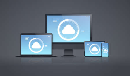 internet connection mobile and computer application cloud synchronization tablet smartphone pc screen digital network technology concept gray background vector illustration