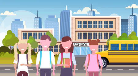 schoolgirls standing together over yellow bus in front of school building exterior back to school concept pupils transport cityscape background flat portrait horizontal vector illustration Illustration