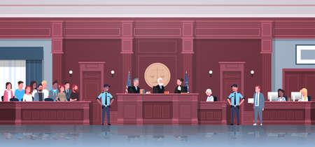 proces prawny z sędzią przysięgłym podejrzanym i funkcjonariuszami policji prawnikiem lub adwokatem wygłaszającym przemówienie sesja sądowa nowoczesna sala sądowa wnętrze pełnej długości poziomej ilustracji wektorowych