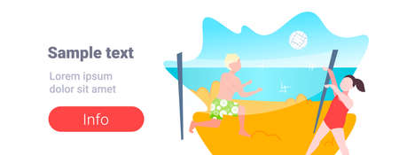 man woman playing volleyball couple with volley ball having fun on sea beach active lifestyle summer vacation concept cartoon characters full length seaside horizontal copy space vector illustration