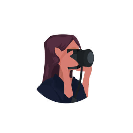 woman photographer taking picture with camera female journalist reporter shooting professional occupation concept cartoon character portrait flat white background vector illustration