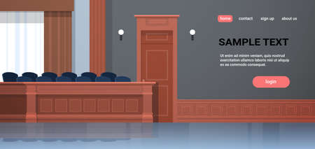 empty jury box seats modern courtroom interior justice and jurisprudence concept horizontal copy space vector illustration