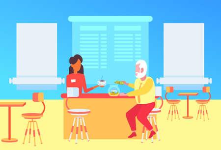 Kellnerin, die Kunden über der Theke im Café Senior Man Gast bedient, der Dollar-Banknoten in die Trinkgeldbox fällt modernes Café-Interieur flach in voller Länge horizontale Vektorillustration