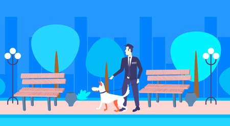 security guard walking with dog men in uniform with animal partner standing night urban park cityscape background full length horizontal flat vector illustration Illusztráció