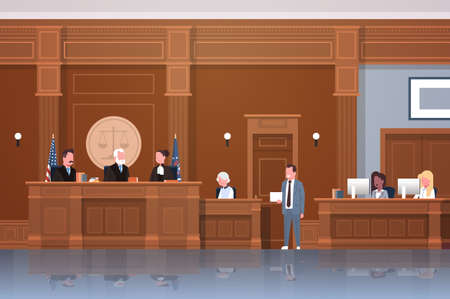 law process with judge secretary suspect and lawyer or attorney giving a speech court session modern courtroom interior full length horizontal vector illustration