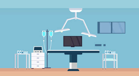 hospital operating table clean medical room intensive therapy modern clinic interior horizontal vector illustration