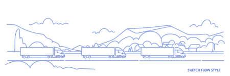 cargo truck trailers driving road highway over mountains landscape background import export logistic transportation concept sketch flow style horizontal vector illustration Illusztráció