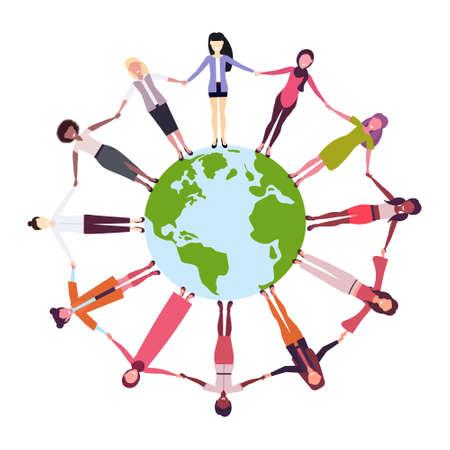 mix race women holding hands around globe international friendship concept girls surrounding world white background vector illustration
