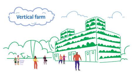 Mezclar la gente de raza caminando al aire libre plantas sistema de agricultura inteligente moderno vertical orgánico verde granja exterior masculino personaje femenino boceto de longitud completa flujo horizontal ilustración vectorial Ilustración de vector