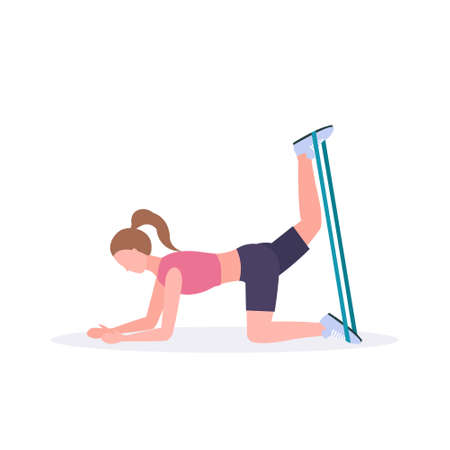 sporty woman doing exercises with resistance band girl training in gym stretching workout healthy lifestyle concept flat white background vector illustration