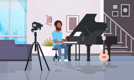 guy musical blogger recording video on camera man playing classical piano music blog concept modern apartment interior full length horizontal vector illustration