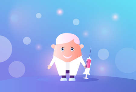 happy doctor holding syringe medical clinics worker hospital professional occupation concept male cartoon character concept blurred blue background horizontal vector illustration Ilustrace